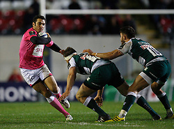 Julien Tomas (L) in action - Mandatory byline: Jack Phillips / JMP - 07966386802 - 13/11/15 - RUGBY - Welford Road, Leicester, Leicestershire - Leicester Tigers v Stade Francais - European Rugby Champions Cup Pool 4