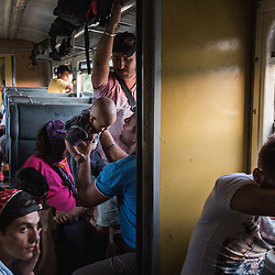 Refugees travel by train to the border with Serbia, after crossing into Macedonia.