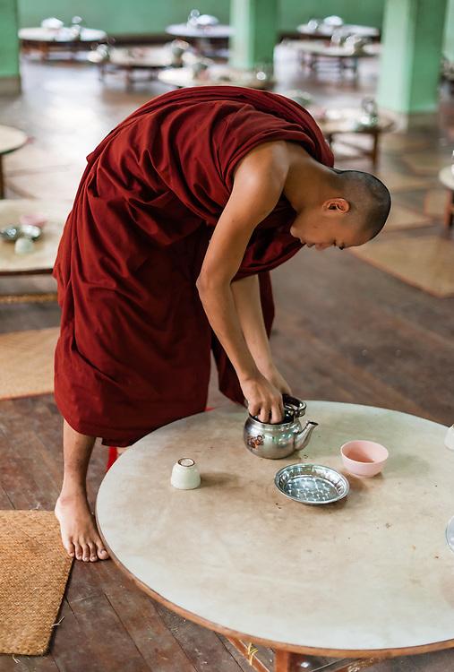 Buddhist Monk at Kha Khat Wain Kyaung Monastery Dining Room (Bago, Myanmar)