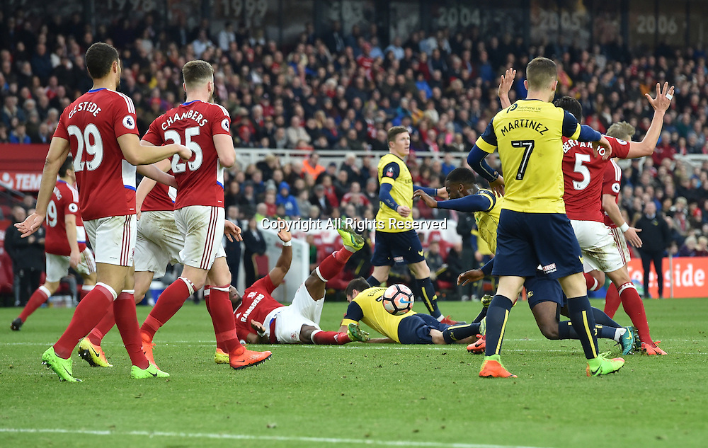February 18th 2017,  Middlesbrough, Teesside, England; 5th Round FA Cup football, Middlesbrough versus Oxford United; Referee Andre Marriner awards a free kick just outside the Middlesbrough box