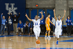 Kentucky guard Janee Thompson, right, and guard Taylor Murray celebrate the 64-63 win over Tennessee, Monday, Jan. 25, 2016 at Memorial Coliseum in Lexington .