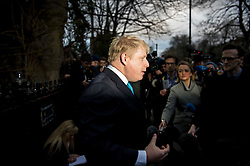 © Licensed to London News Pictures. 21/02/2016. London, UK. Mayor of London BORIS JOHNSON leaves his home to make a statement on the steps of  his London home where he announced that he will campaign to leave the EU ahead of a referendum in June. Photo credit: Ben Cawthra/LNP