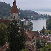 Stadtkirche and view of Alps in distance from Schloss Thun, Thun, Switzerland<br />