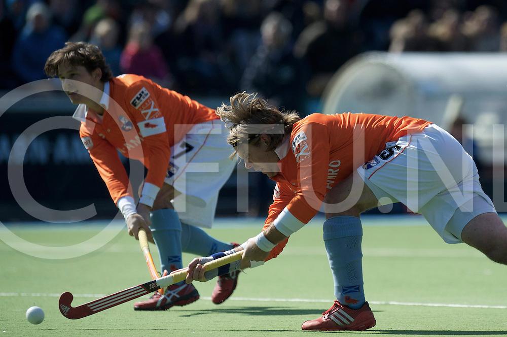 Amstelveen - Euro Hockey league KO16.Beeston HC - HC Bloemendaal.foto: Olmer Meijer drag flick, with Wouter Jolie in the background..FFU PRESS AGENCY COPYRIGHT FRANK UIJLENBROEK.