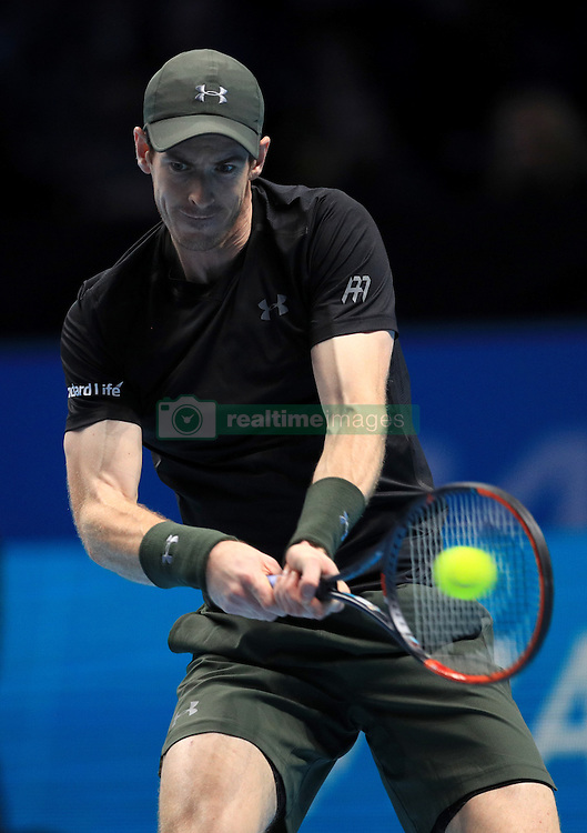 Andy Murray in his match against Milos Raonic during day seven of the Barclays ATP World Tour Finals at The O2, London. PRESS ASSOCIATION Photo. Picture date: Saturday November 19, 2016. See PA story TENNIS London. Photo credit should read: Adam Davy/PA Wire. RESTRICTIONS: Editorial use only, No commercial use without prior permission
