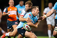 SYDNEY, NSW - MARCH 23: Crusaders player Quinten Strange (4) hits Waratahs player Bernard Foley (10) with a big tackle at round 6 of Super Rugby between NSW Waratahs and Crusaders on March 23, 2019 at The Sydney Cricket Ground, NSW. (Photo by Speed Media/Icon Sportswire)