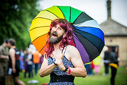 © Licensed to London News Pictures. 09/06/2018. Knaresborough UK. James Targett who is competing in the Knarsborough bed race today. Knaresborough bed race is taking place today in the town of Knaresborough in Yorkshire. The race first held in 1966 is part fancy dress & part gruelling time trial over a 2.4 mile course ending with a swim through the River Nidd. Photo credit: Andrew McCaren/LNP