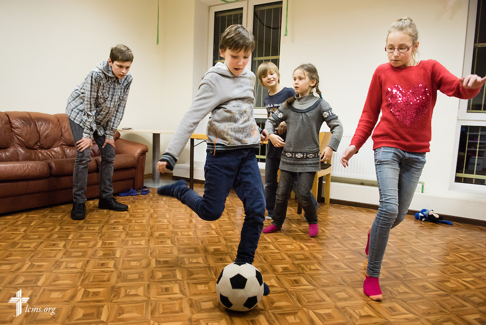 Children play together on Wednesday, Feb. 4, 2015, at the Generations Diaconia Center daycare in Riga, Latvia. LCMS Communications/Erik M. Lunsford