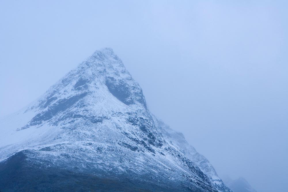 Bielloriehppe Mountain in low cloud, Sarek National Park, Laponia World Heritage Site, Sweden