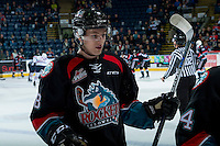 KELOWNA, CANADA - NOVEMBER 1: Jack Cowell #8 of the Kelowna Rockets skates to the bench against the Kamloops Blazers on November 1, 2016 at Prospera Place in Kelowna, British Columbia, Canada.  (Photo by Marissa Baecker/Shoot the Breeze)  *** Local Caption ***