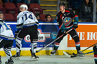 KELOWNA, CANADA - OCTOBER 4: Kole Lind #16 of the Kelowna Rockets stands at the boards against the Victoria Royalson October 4, 2017 at Prospera Place in Kelowna, British Columbia, Canada.  (Photo by Marissa Baecker/Shoot the Breeze)  *** Local Caption ***