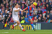 James McArthur (18) of Crystal Palace beats Ander Herrera of Manchester United to the ball during the Barclays Premier League match between Crystal Palace and Manchester United at Selhurst Park, London, England on 31 October 2015. Photo by Phil Duncan.