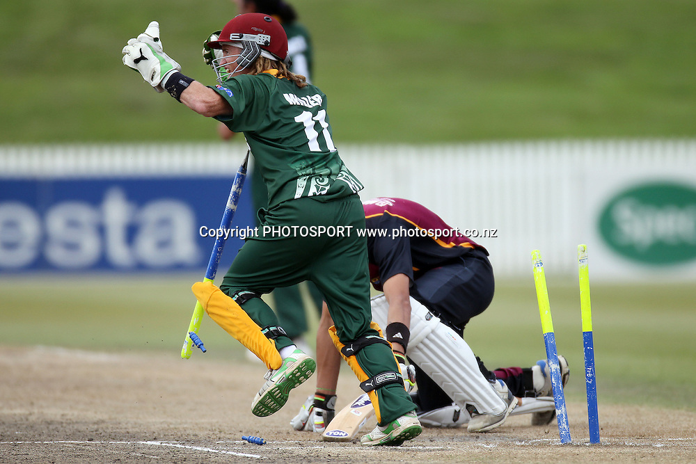 Shayde Perham batting for ND is stumped by keeper Glen Miller, Twenty 20 cricket, Northern Districts Maori v Cook Islands, Seddon Park, Hamilton. 4 April 2011. Photo: William Booth/photosport.co.nz