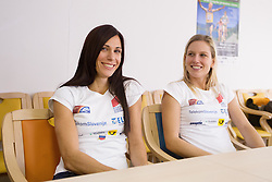 Marija Sestak and Marina Tomic at press conference of Slovenian team before departure to Indoor Athletics World Championship in Istanbul, on March 7, 2012 in Ljubljana, Slovenia.  (Photo By Vid Ponikvar / Sportida.com)