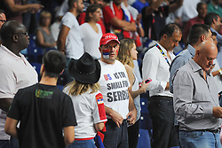Fans of Serbia during the 2014 FIBA World Basketball Championship Final match between USA and Serbia at the Palacio de los Deportes, on September 14, 2014 in Madrid, Spain. Photo by Tom Luksys  / Sportida.com <br /> ONLY FOR Slovenia, France