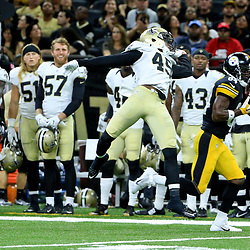Aug 26, 2016; New Orleans, LA, USA;  Pittsburgh Steelers wide receiver Antonio Brown (84) catches a touchdown pass over New Orleans Saints cornerback De'Vante Harris (49) during the first half of a preseason game at Mercedes-Benz Superdome. Mandatory Credit: Derick E. Hingle-USA TODAY Sports