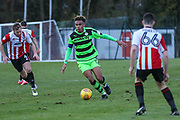 Forest Green Rovers Jordan Simpson(12) runs forward during the The Central League match between Cheltenham Town Reserves and Forest Green Rovers Reserves at The Energy Check Training Ground, Cheltenham, United Kingdom on 28 November 2017. Photo by Shane Healey.