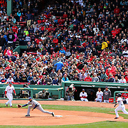 Action during the Boston Red Sox V Tampa Bay Rays, Major League Baseball game on Jackie Robinson Day, Fenway Park, Boston, Massachusetts, USA, 15th April, 2013. Photo Tim Clayton