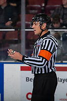 KELOWNA, BC - JANUARY 11: Referee Brayden Arcand stands on the ice at the Kelowna Rockets against the Kamloops Blazers at Prospera Place on January 11, 2020 in Kelowna, Canada. (Photo by Marissa Baecker/Shoot the Breeze)