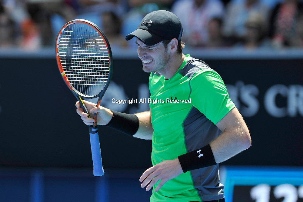 19.01.2015 Australian Open Tennis from Melbourne Park. Andy Murray of Great Britain grimaces in his match against Yuki Bhambri of India on day one of the 2015 Australian Open at Melbourne Park, Melbourne, Australia.