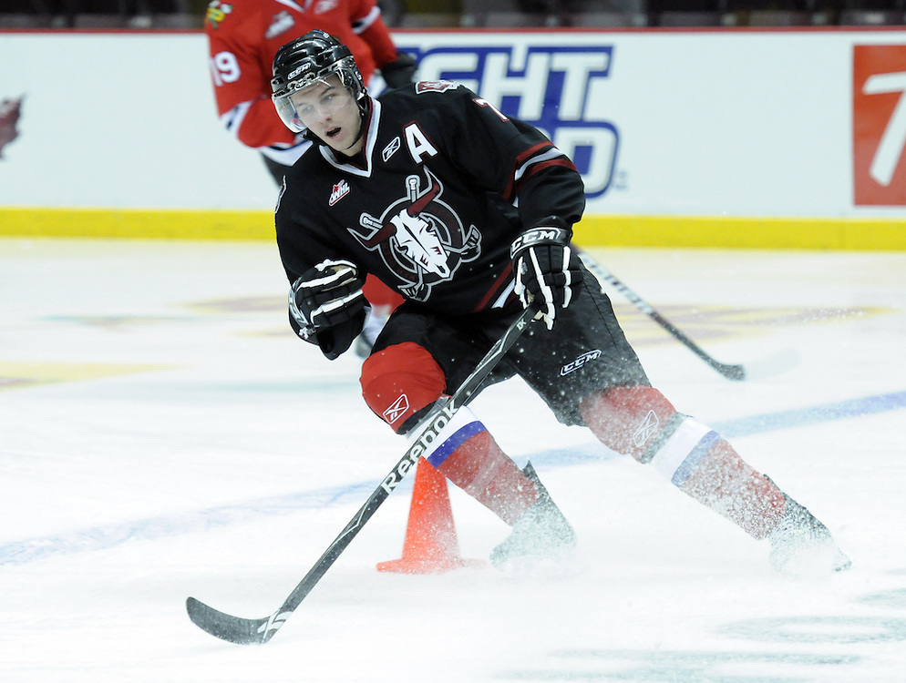 Alexander Petrovic of the Red Deer Rebels participates in Next Testing at the Home Hardware CHL Top Prospects Game in Windsor, ON on Tuesday. Photo by Aaron Bell/CHL