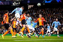 Nicolas Otamendi of Manchester City heads the ball at goal - Mandatory by-line: Robbie Stephenson/JMP - 26/11/2019 - FOOTBALL - Etihad Stadium - Manchester, England - Manchester City v Shakhtar Donetsk - UEFA Champions League Group Stage
