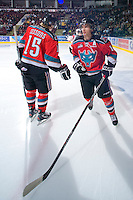 KELOWNA, CANADA, OCTOBER 20: Spencer Main #16 of the Kelowna Rockets takes part in a pre-game ritual as  the Vancouver Giants visited the Kelowna Rockets on October 20, 2011 at Prospera Place in Kelowna, British Columbia, Canada (Photo by Marissa Baecker/shootthebreeze.ca) *** Local Caption *** Spencer Main;