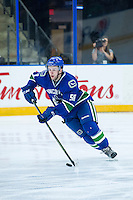 PENTICTON, CANADA - SEPTEMBER 16: Michael Carcone #58 of Vancouver Canucks skates with the puck against the Edmonton Oilers on September 16, 2016 at the South Okanagan Event Centre in Penticton, British Columbia, Canada.  (Photo by Marissa Baecker/Shoot the Breeze)  *** Local Caption *** Michael Carcone;