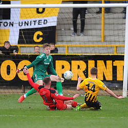 TELFORD COPYRIGHT MIKE SHERIDAN 2/3/2019 - SAVE. Joe Bursik of AFC Telford saves from Max Wright of Boston during the National League North fixture between Boston United and AFC Telford United at the York Street Jakemans Stadium