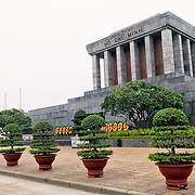The Ho Chi Minh Mausoleum from a 45 degree side angle. A large memorial in downtown Hanoi surrounded by Ba Dinh Square, the Ho Chi Minh Mausoleum houses the embalmed body of former Vietnamese leader and founding president Ho Chi Minh.