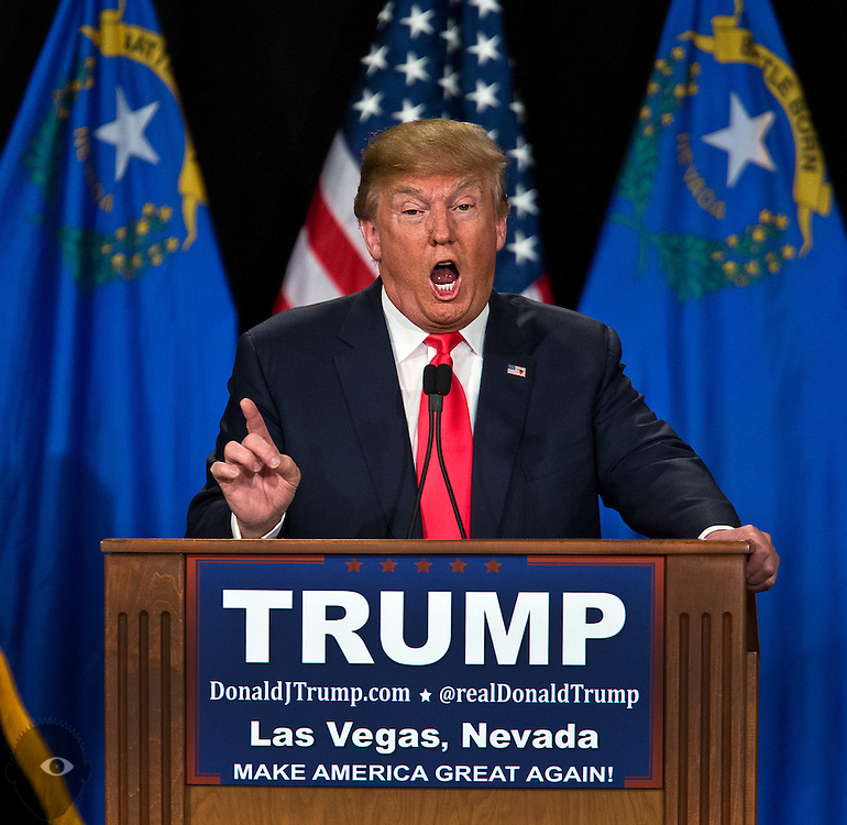Republican Presidential candidate Donald Trump comments about his opponents on stage at South Point Hotel, Casino and Spa in Las Vegas on Thursday, January 21, 2016. L.E. Baskow