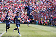 Manchester United Andreas Pereira scores a goal and celebrates a goal 1-1 during the Manchester United and Liverpool International Champions Cup match at the Michigan Stadium, Ann Arbor, United States on 28 July 2018.