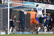 Gillingham defender Deji Oshilaja heads just wide of the goal  during the Sky Bet League 1 match between Southend United and Gillingham at Roots Hall, Southend, England on 19 March 2016. Photo by Martin Cole.