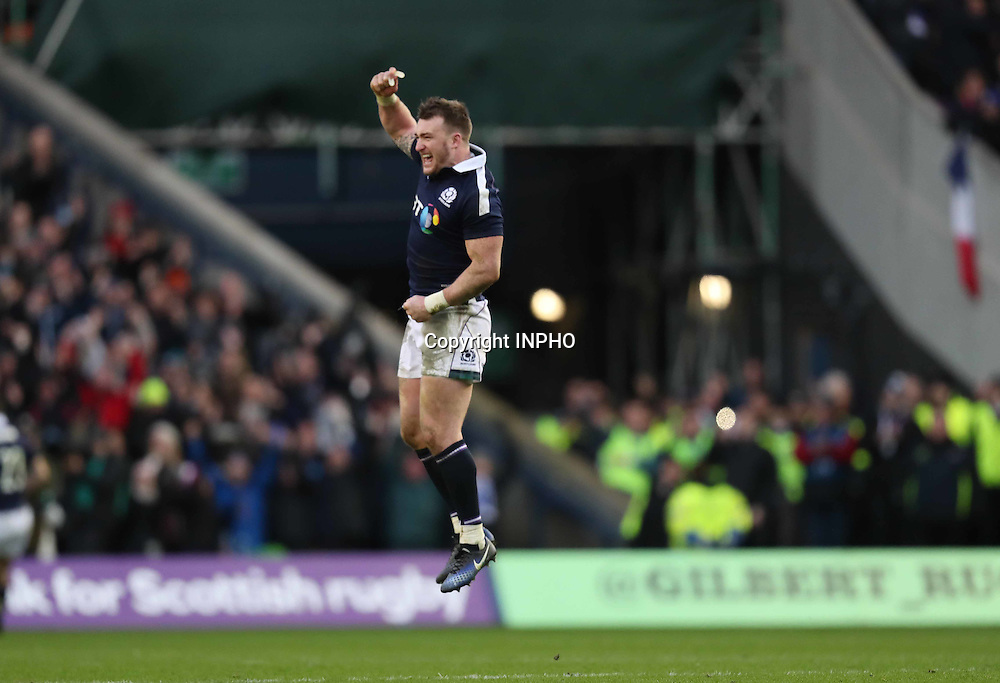 RBS 6 Nations Championship Round 1, BT Murrayfield, Scotland 4/2/2017<br /> Scotland vs Ireland<br /> Scotland&rsquo;s Stuart Hogg celebrates the final whistle<br /> Mandatory Credit &copy;INPHO/Billy Stickland