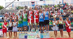 02.08.2015, Strandbad, Klagenfurt, AUT, A1 Beachvolleyball EM 2015, Finale Herren, im Bild v.l.n.r. iAlex Ranghieri 1 ITA / Adrian Ignacio Carambula 2 ITA, Aleksandrs Samoilovs 1 LAT / Janis Smedins 2 LAT, Reinder Nummerdor 1 NED / Christiaan Varenhorst 2 NED // during Final Match Men, of the A1 Beachvolleyball European Championship at the Strandbad Klagenfurt, Austria on 2015/08/02. EXPA Pictures © 2015, EXPA Pictures © 2015, PhotoCredit: EXPA/ Mag. Gert Steinthaler