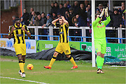 Anthony O'Connor disallowed goal during the Sky Bet League 1 match between Rochdale and Burton Albion at Spotland, Rochdale, England on 30 January 2016. Photo by Daniel Youngs.