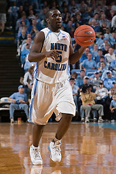 28 December 2006: North Carolina Tarheel guard (5) Ty Lawson during a 87-48 Rutgers Scarlet Knights loss to the North Carolina Tarheels, in the Dean Smith Center in Chapel Hill, NC.<br />