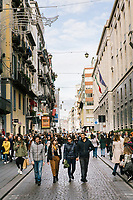 """NAPLES, ITALY - 24 NOVEMBER 2018: People walk in Via Toledo in Naples, Italy, on November 24th 2018.<br /> <br /> My Brilliant Friend (Italian: L'amica geniale) is an Italian-American drama television miniseries based on the novel of the same name by Elena Ferrante. The series follows the lives of two perceptive and intelligent girls, Elena (sometimes called """"Lenù"""") Greco and Raffaella (""""Lila"""") Cerullo, from childhood to adulthood and old age, as they try to create lives for themselves amidst the violent and stultifying culture of their home – a poor neighborhood on the outskirts of Naples, Italy. My Brilliant Friend is a co-production between American premium cable network HBO and Italian networks RAI and TIMvision"""