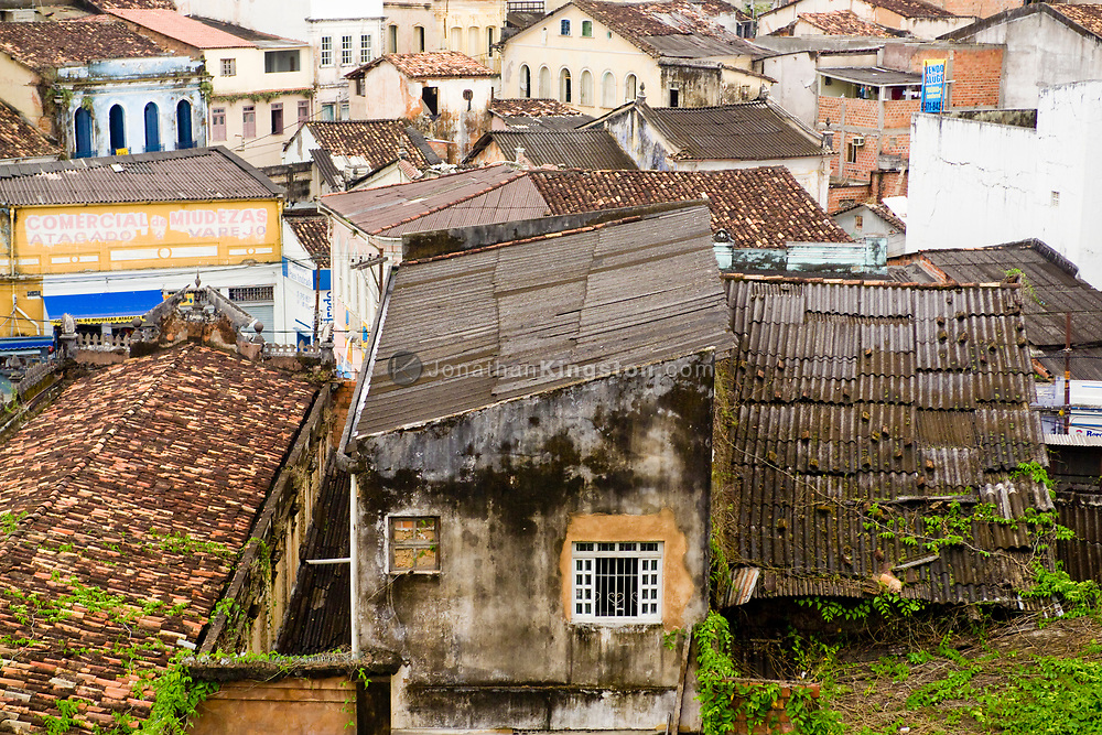 View of a favela near Largo do Pelourinho, Salvador, Brazil. A favela is the Brazilian equivalent of a shanty town.  The majority have electricity, but in most cases it is illegally tapped from the public grid.