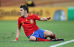 A dejected David VILLA during the 2010 FIFA World Cup South Africa Group H match between Spain and Switzerland at Durban Stadium on June 16, 2010 in Durban, South Africa.