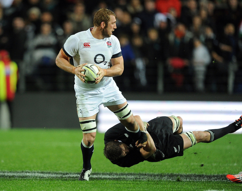 England's Chris Robshaw tackled by New Zealand's Richie McCaw in the third International Rugby Test at Waikato Stadium, Hamilton, New Zealand, Saturday, June 21, 2014.Credit:SNPA / Ross Setford