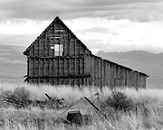 A barn built in the late 1800's sits in a field in Cache County, Utah.