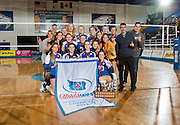 22 February 2014:  Canada West Women's Volleyball Finals.  University of British Columbia Thunderbirds defeats the University of Manitoba Bisons 3-0 to win the Canada West Championship Final. Both teams move on to the CIS Championship Tournament. War Memorial Gym, University of British Columbia, Vancouver, BC, Canada.  ****(Photo by Bob Frid/UBC Athletics 2014 All Rights Reserved)****