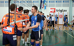 Players of ACH Volley (orange) and Salonit Anhovo (blue) (Andrej Berdon -3)at 4th and final match of Slovenian Voleyball  Championship  between OK Salonit Anhovo (Kanal) and ACH Volley (from Bled), on April 23, 2008, in Kanal, Slovenia. The match was won by ACH Volley (3:1) and it became Slovenian Championship Winner. (Photo by Vid Ponikvar / Sportal Images)/ Sportida)