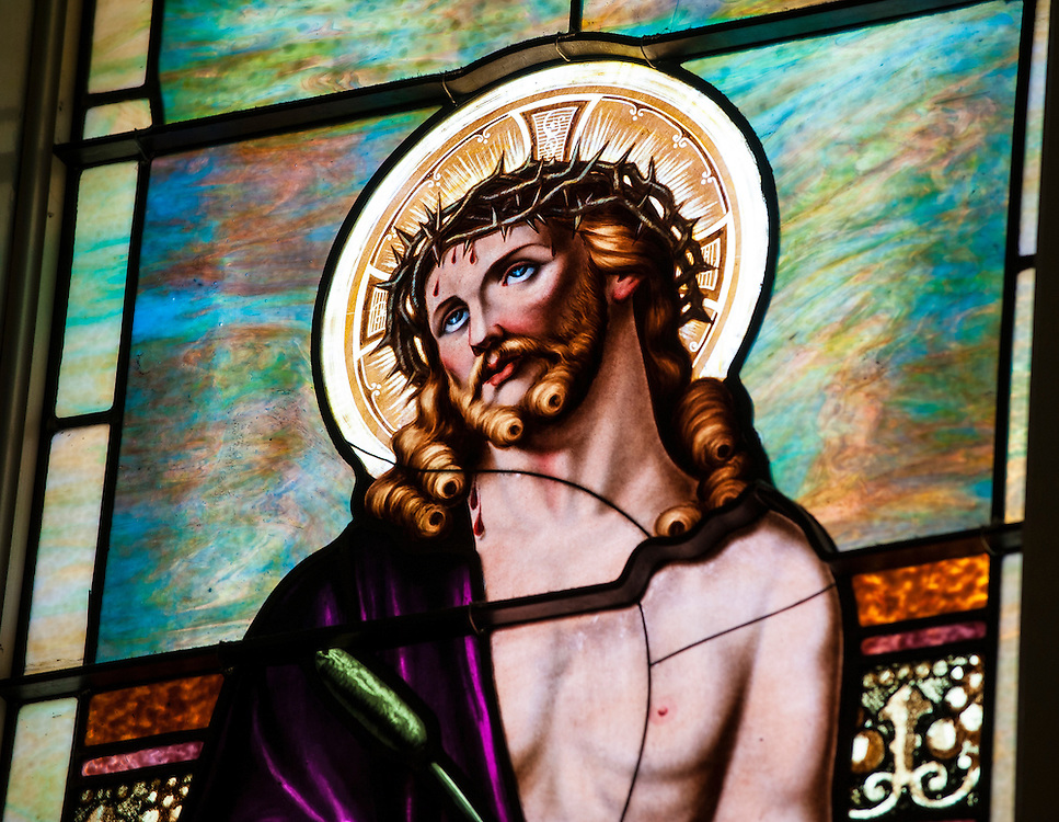 Stained glass window at St. Joseph Church in Ogden, Utah, depicting Jesus with crown of thorns. (Sam Lucero photo)