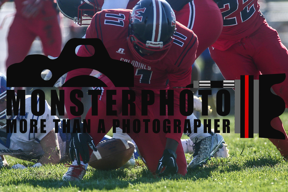 William Penn linebacker Myles Goodson-Tatum (11) attempts to recover the loose ball during a Week 9 DIAA football game between William Penn and Charter School of Wilmington Saturday, Nov. 05, 2016, at William Penn Stadium in New Castle.
