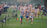Dec 2, 2017; Portland, OR, USA; Katelynne Hart of Midwest (221), London Culbreath of South (244) and Kelsey Chmiel of Kinetic (201) run in the girls' race during the 2017 Nike Cross Nationals at Glendoveer Golf Course.