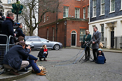 © Licensed to London News Pictures. 23/01/2020. London, UK. RICHARD'S mother, BARBARA and daughter GABRIELLA stand next to him as NAZANIN ZAGHARI-RATCLIFFE'S husband makes a statement on Downing Street after meeting Prime Minister, BORIS JOHNSON. NAZANIN ZAGHARI-RATCLIFFE, a dual-national British-Iranian, has been in detention in Tehran since her arrest on 3 April 2016. She is accused of spying – a charge she denies. Photo credit: Dinendra Haria/LNP