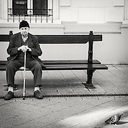 Man and pigeon in Budapest Hungary