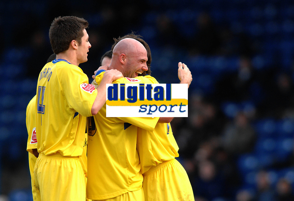 Photo: Paul Greenwood.<br />Bury FC v Wycombe Wanderers. Coca Cola League 2. 17/02/2007. Wycombe's Tommy Monney, centre, congratulates scorer Tommy Doherty, right.